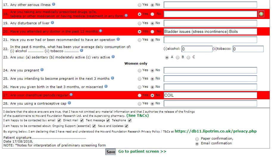 Lipotrim pharmacy electronic medical screening form