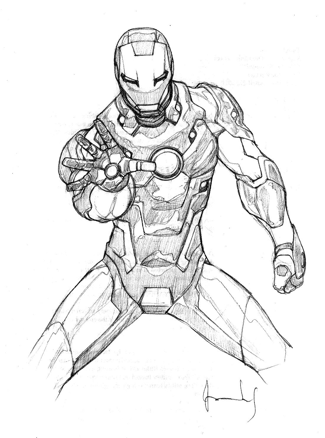 coloriage à imprimer personnages célèbres comics iron man