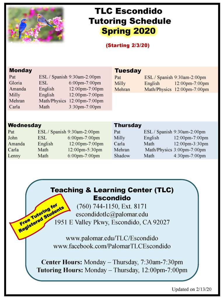 Picture of Spring 2020-Tutoring Schedule-updated 2-13-20