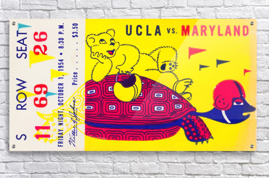 1954 ucla bruins football ticket stub maryland friday night vintage cartoon art poster retro college row one brand print