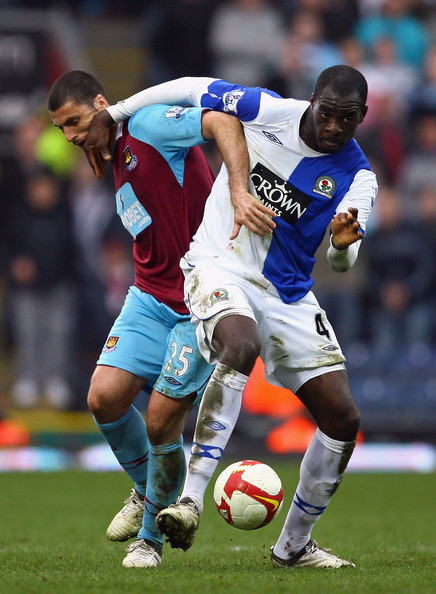 Chris Samba Chris Samba of Blackburn Rovers holds off a challenge from Diego Tristan of West Ham United during the Barclays Premier League match between Blackburn Rovers and West Ham United at Ewood Park on March 21, 2009 in Blackburn, England.  (Photo by Alex Livesey/Getty Images) *** Local Caption *** Chris Samba;Diego Tristan