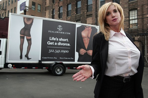 Corri Fetman Divorce attorney Corri Fetman unveils her new advertising campaign on mobile billboards June 7, 2007 in Chicago, Illinois. Fetman's previous campaign featuring a fixed billboard with the same tagline 'Life's Short Get a Divorce' but different titillating photos was removed by the city after one week.