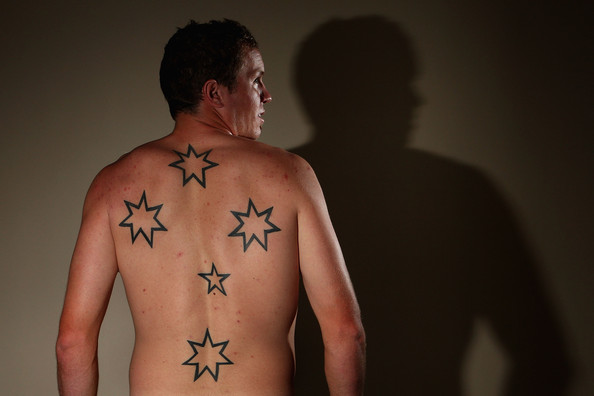 Australia poses for a portrait showing his Southern Cross tattoo at The