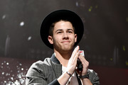 Host Nick Jonas speaks onstage at 101.3 KDWB's Jingle Ball 2014 presented by Sky Zone Indoor Trampoline Park and Allstate at Xcel Energy Center on December 8, 2014 in St Paul, Minnesota.