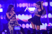 Singers Nicki Minaj (L) and Ariana Grande perform onstage during the 2014 iHeartRadio Music Festival at the MGM Grand Garden Arena on September 19, 2014 in Las Vegas, Nevada.