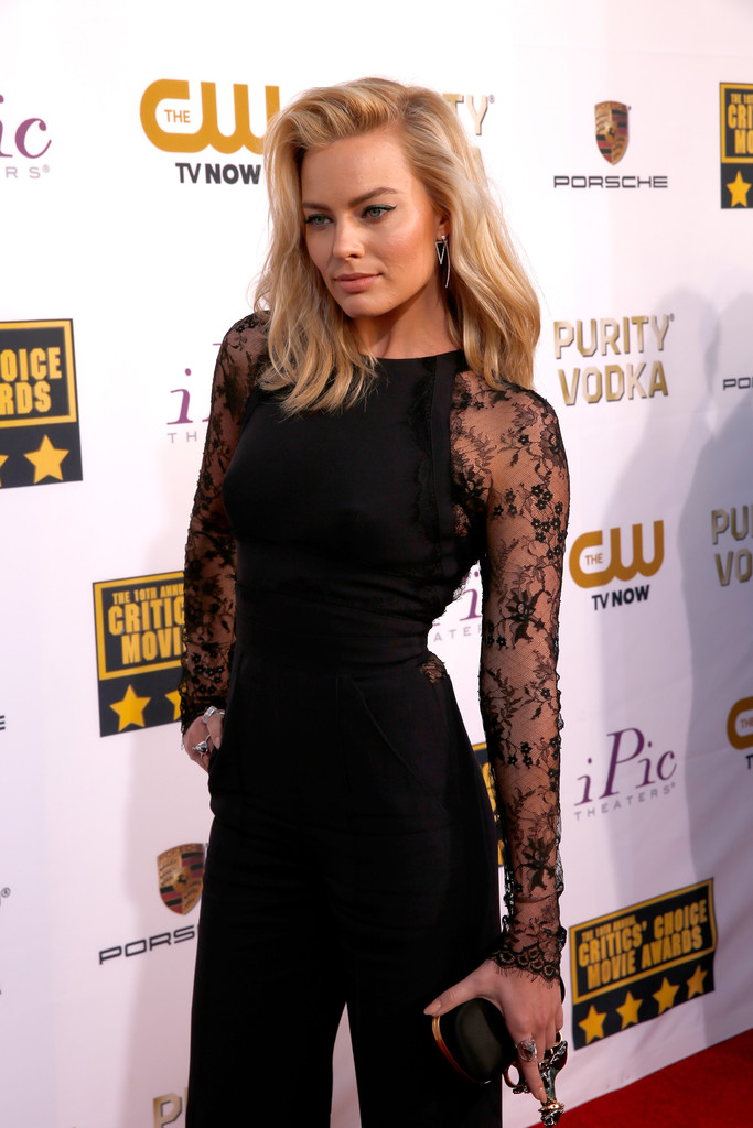 margot robbie black lace jumpsuit 2014
