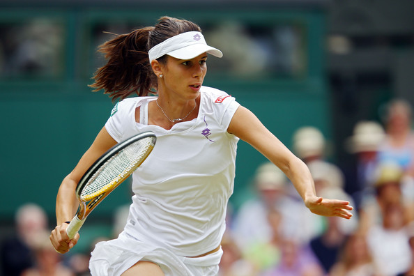 Tsvetana Pironkova Tsvetana Pironkova of Bulgaria in action during the Ladies Semi Final match against Vera Zvonareva of Russia on Day Ten of the Wimbledon Lawn Tennis Championships at the All England Lawn Tennis and Croquet Club on July 1, 2010 in London, England.