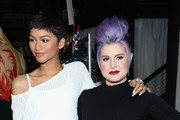 Actress Zendaya (L) and singer Kelly Osbourne pose backstage at the Christian Siriano Fashion Show at ArtBeam on February 14, 2015 in New York City.