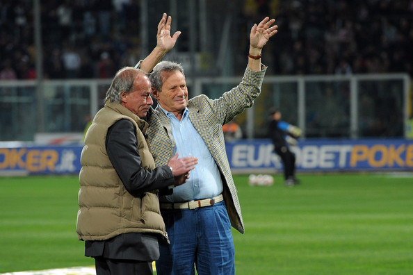 Palermo's president Maurizio Zamparini (R) greets supporters while Sport Manager Walter Sabatini applauds before the start of the Serie A match between US Citta di Palermo and FC Internazionale Milano at Stadio Renzo Barbera on March 20, 2010 in Palermo, Italy.