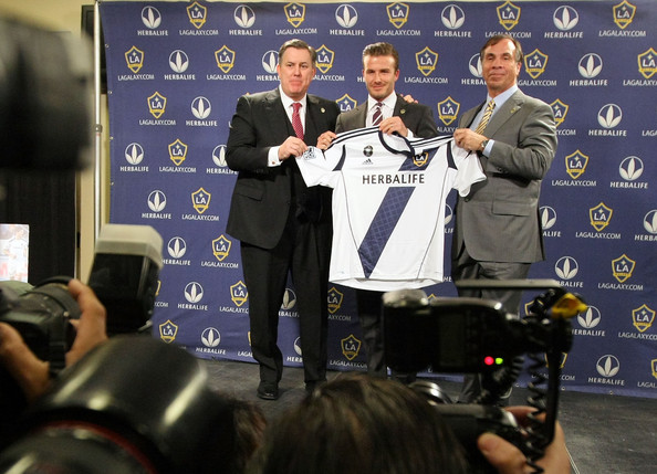 tim lieweke, david beckham and bruce arena