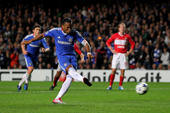 Didier Drogba Didier Drogba of Chelsea scxores his team's second goal from the penalty spotduring the UEFA Champions League group F match between Chelsea and Spartak Moscow at Stamford Bridge on November 3, 2010 in London, England.
