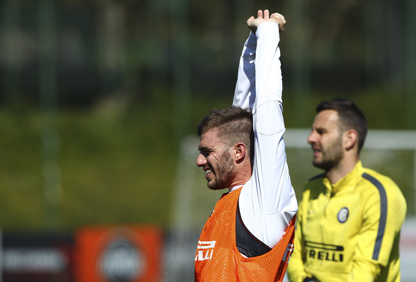 Davide Santon of FC Internazionale Milano trains during FC Internazionale training session at the club's training ground on April 7, 2015 in Appiano Gentile Como, Italy.