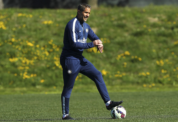 FC Internazionale Milano assistant coach Sylvinho looks on during an FC Internazionale training session at the club's training ground on April 7, 2015 in Appiano Gentile Como, Italy.