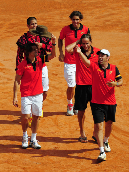 Feliciano Lopez Davis Cup team captain Albert Costa (R), Feliciano Lopez (2nd R), Rafael Nadal (C), Fernando Verdasco (2nd L) and David Ferrer of Spain celebrate with the crowd after the last match during the third and final day of the semi final Davis Cup match between Spain and France at the Plaza de Toros de los Califas on September 18, 2011 in Cordoba, Spain.