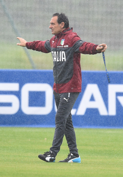 Head coach Italy Cesare Prandelli reacts during a training session on June 10, 2014 in Rio de Janeiro, Brazil.