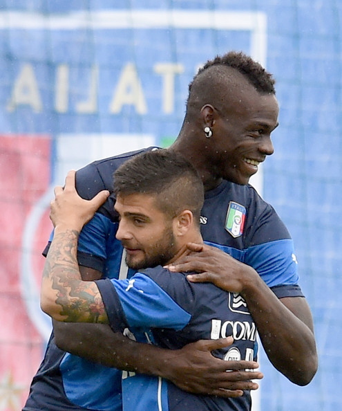 Mario Balotelli and Lorenzo Insigne (L) of Italy during a training session on June 10, 2014 in Rio de Janeiro, Brazil.