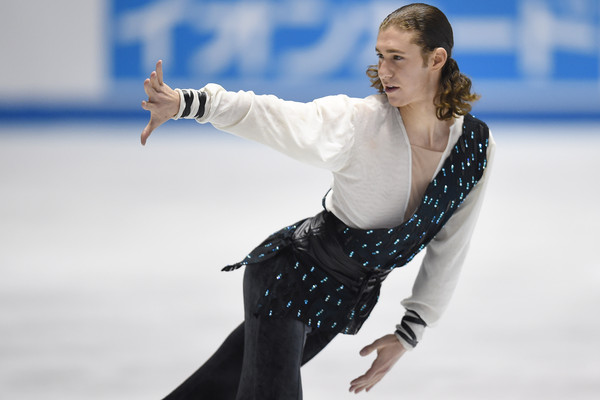 Figure skater Jason Brown performs at the 2015 World Team Trophy