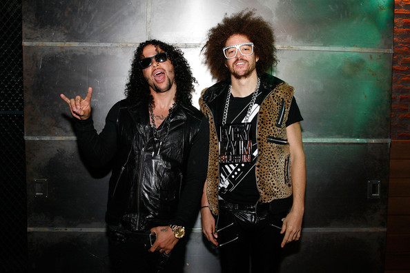 (L to R)  SkyBlu (Skyler Gordy) and Redfoo (Stefan Kendal Gordy) of LMFAO tape an episode of Top Twenty Countdown at fuse Studios on April 28, 2011 in New York City.