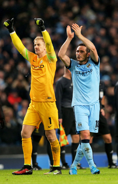 Joe Hart of Manchester City and Frank Lampard of Manchester City applaud the fans following their 3-2 victory during the UEFA Champions League Group E match between Manchester City and FC Bayern Muenchen at the Etihad Stadium on November 25, 2014 in Manchester, United Kingdom.