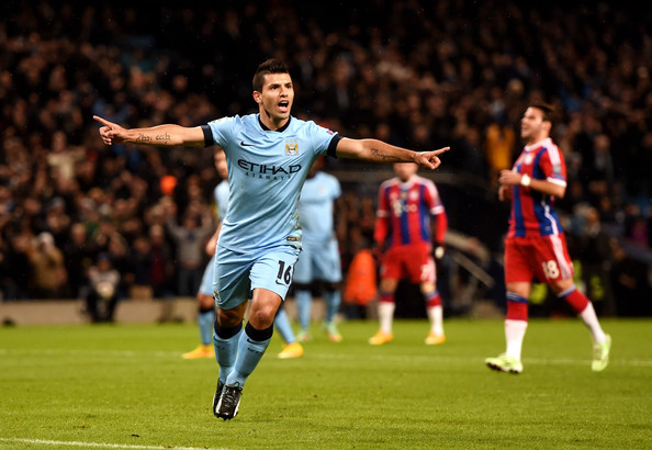Sergio Aguero of Manchester City celebrates after scoring the opening goal from the penalty spot during the UEFA Champions League Group E match between Manchester City and FC Bayern Muenchen at the Etihad Stadium on November 25, 2014 in Manchester, United Kingdom.