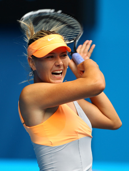 Maria Sharapova Maria Sharapova of Russia plays a forehand during her first round match against Tamarine Tanasugarn of Thailand during day one of the 2011 Australian Open at Melbourne Park on January 17, 2011 in Melbourne, Australia.