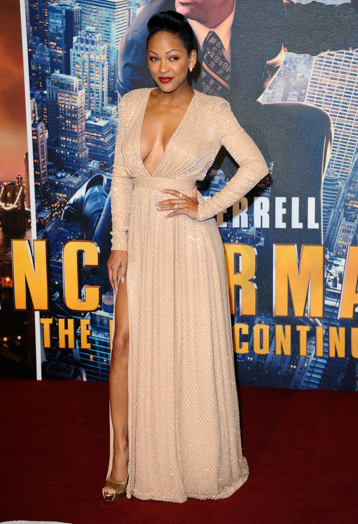 meagan good in gold dress and cleavage
