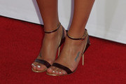 """Actress Lea Michele (shoe detail) attends the premiere screening of FX's """"Sons Of Anarchy"""" at TCL Chinese Theatre on September 6, 2014 in Hollywood, California."""
