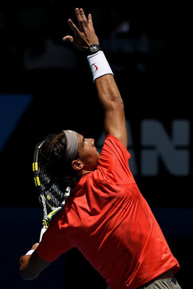 Rafael Nadal Rafael Nadal of Spain serves in his second round match against Ryan Sweeting of the United States of America during day four of the 2011 Australian Open at Melbourne Park on January 20, 2011 in Melbourne, Australia.