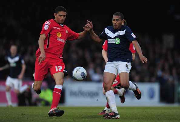 Ryan Hall Kelvin Mellor of Crewe battles with Ryan Hall of Southend United during the npower League Two semi-final 2nd leg match between Southend United and Crewe Alexandra at Roots Hall on May 16, 2012 in Southend, England.