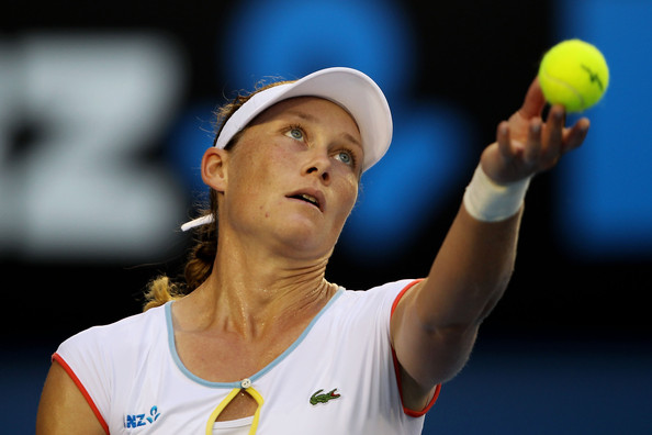 Samantha Stosur Samantha Stosur of Australia serves in her third round match against Petra Kvitova of the Czech Republic during day six of the 2011 Australian Open at Melbourne Park on January 22, 2011 in Melbourne, Australia.