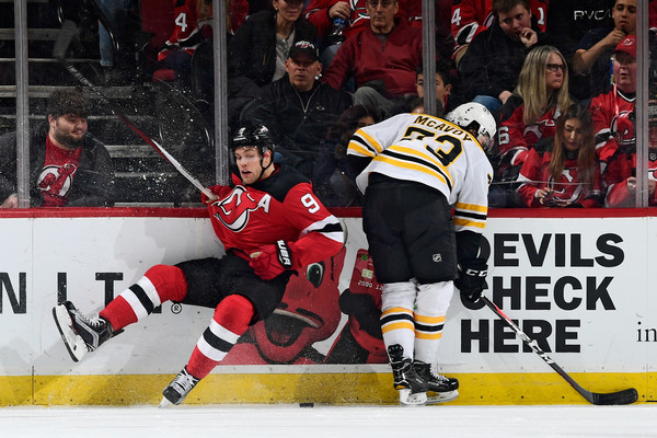 Taylor Hall, Charlie McAvoy - Boston Bruins v New Jersey Devils