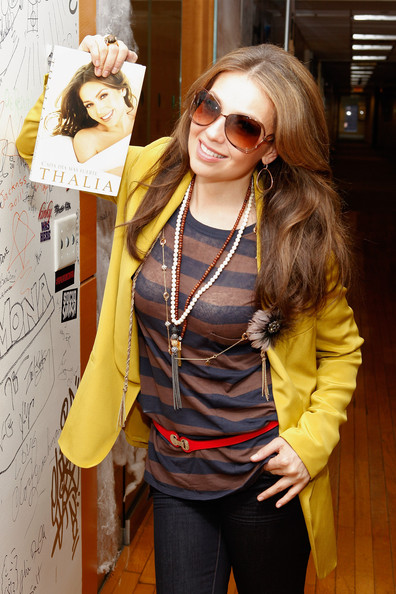 Thalia Recording artist Thalía visits the Caliente channel to promote her new book, Growing Stronger at SiriusXM Studio on November 1, 2011 in New York City.