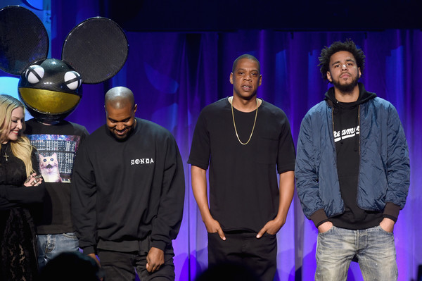 (L-R) Deadmau5, Kanye West, JAY Z, and J. Cole onstage at the Tidal launch event #TIDALforALL at Skylight at Moynihan Station on March 30, 2015 in New York City.