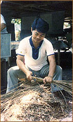 cutting of materials for handmade paper