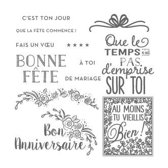 Ensemble de timbres en photopolymère Fêtons en Grand (Français)