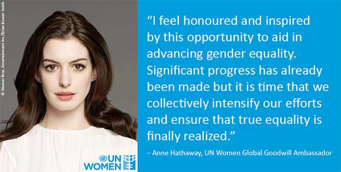 Anne Hathaway, UN Women Goodwill Ambassador photo and quote