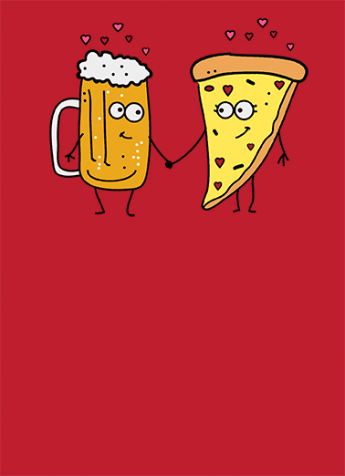 Funny Valentines Day Card Beer And Pizza From