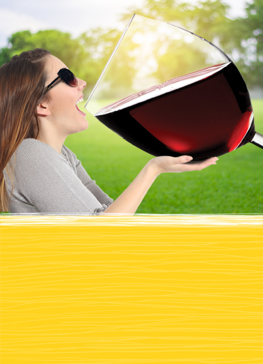 Funny Birthday Card Big Glass Of Wine From