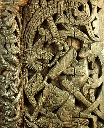 Photo of the woodcarving of Sigurd killing the dragon Fafnir, wood carving from Hylestad stave church in Norway