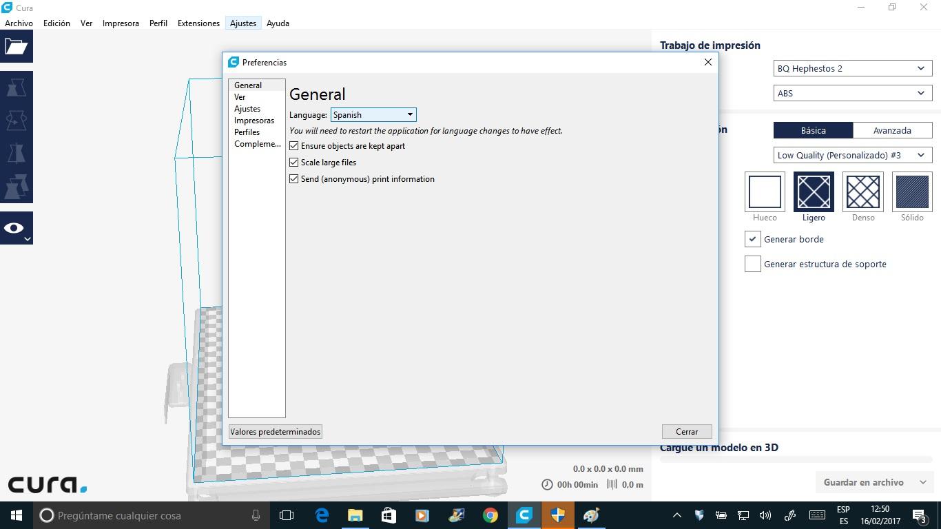 5. Exportación del archivo con la extensión Gcode (laminado)