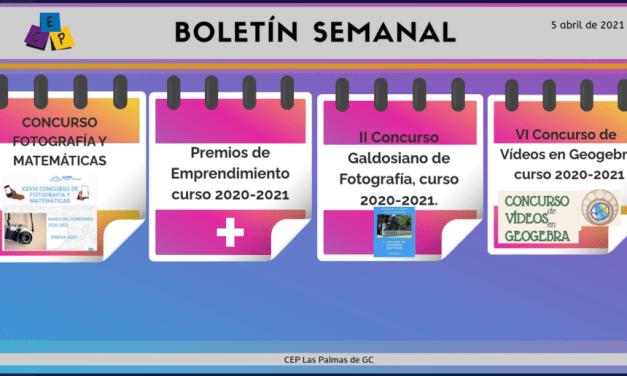 BOLETÍN SEMANAL – 5 DE abril DE 2021 –