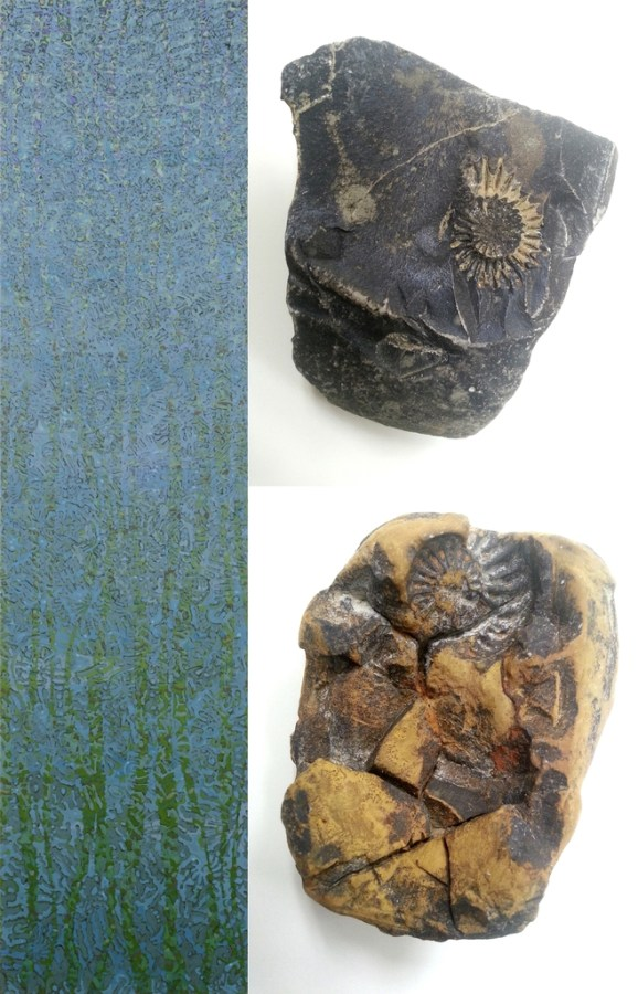 "Left: 200 x 50 cm, oil/canvas. Right: From the stream bed of the ""Teufelsgraben"" near Schnaittach (Middle Franconia). Lias (Lower Jurassic), 201.3 – 174.1 mya (million years ago)."