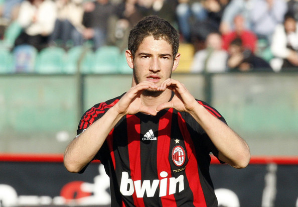Pato Pato celebrates after scoring a goal during the Serie A match between AC Siena and AC Milan at the Artemio Franchi Stadio on MARCH 15, 2009 in Siena, Italy. (Photo by New Press/Getty Images) *** Local Caption *** Pato