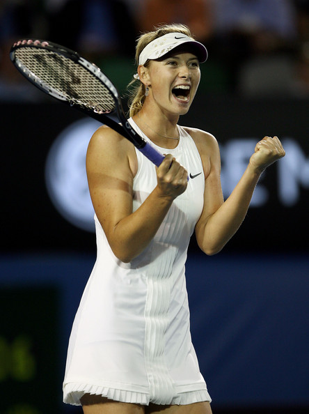 Maria Sharapova Maria Sharapova of Russia celebrates winning match point after her second round match against Lindsay Davenport of the United States of America on day three of the Australian Open 2008 at Melbourne Park on January 16, 2008 in Melbourne, Australia.
