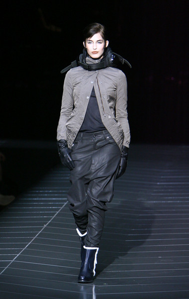 A model walks the runway at the G Star Fall 2009 fashion show during Mercedes-Benz Fashion Week at the Hammerstein Ballroom on February 17, 2009 in New York City.