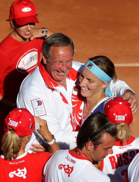 Svetlana Kuznetsova Svetlana Kuznetsova (R) of Russia celebrates with Russian team captain Shamil Tarpischev (L) and other teammates after her win over Carla Suarez Navarro of Spain on day one of the Fed Cup by BNP Paribas World Group Final between Spain and Russia at the Club de Campo on September 13, 2008 in Madrid, Spain. Kuznetsova won the match in two sets, 6-3 and 6-1, giving Russia a 2-0 lead over Spain.