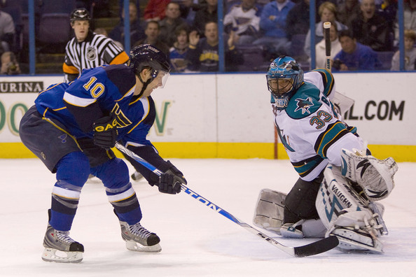 Andy McDonald Andy McDonald #10 of the St. Louis Blues scores a goal against Brian Boucher #33 of the San Jose Sharks at the Scottrade Center on March 12, 2009 in St. Louis, Missouri.  (Dilip Vishwanat/Getty Images) *** Local Caption *** Andy McDonald;Brian Boucher