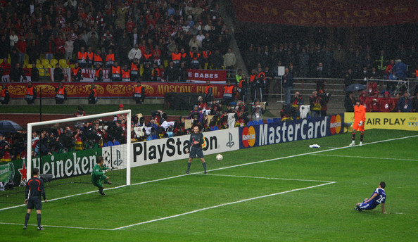 John Terry John Terry of Chelsea misses a penalty during the UEFA Champions League Final match between Manchester United and Chelsea at the Luzhniki Stadium on May 21, 2008 in Moscow, Russia.