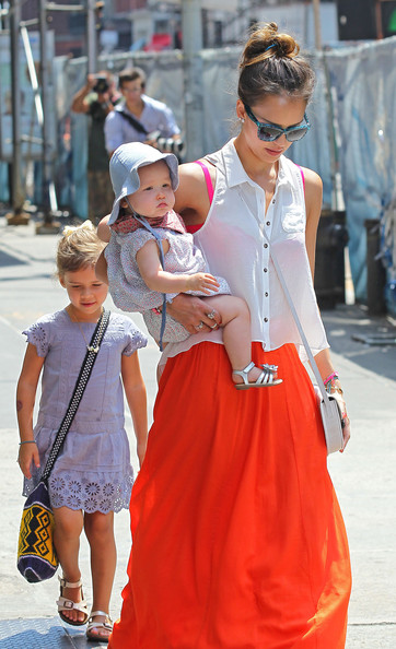 Jessica Alba Actress Jessica Alba and a friend take her daughters Honor and Haven out for lunch at Bubby's in New York City, New York on July 24th, 2012.