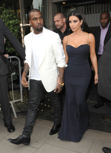 Kanye West and Kim Kardashian  leave their hotel and head to the FiFi Fragrance Awards in London, England on May 17, 2012.